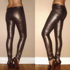 🆕 7 For All Mankind Skinny Metallic Copper Jeans